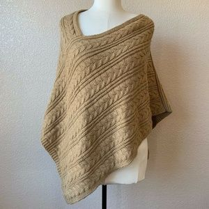 NEW Ann Taylor LOFT Poncho Sweater Brown Cableknit